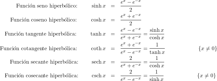 \begin{eqnarray*} \text{Funci\'on seno hiperb\'olico: }\qquad\sinh x &=& \frac{e^{x} - e^{-x}}{2}\\ \text{Funci\'on coseno hiperb\'olico: }\qquad\cosh x &=& \frac{e^{x} + e^{-x}}{2}\\ \text{Funci\'on tangente hiperb\'olica: }\qquad\tanh x &=& \frac{e^{x} - e^{-x}}{e^{x} + e^{-x}} = \frac{\sinh x}{\cosh x}\\ \text{Funci\'on cotangente hiperb\'olica: }\qquad\coth x &=& \frac{e^{x} + e^{-x}}{e^{x} - e^{-x}} = \frac{1}{\tanh x} \qquad\qquad\qquad \{x\neq 0\}\\ \text{Funci\'on secante hiperb\'olica: }\qquad\mathrm{sech}\, x &=&  \frac{2}{e^{x} + e^{-x}} = \frac{1}{\cosh x}\\ \text{Funci\'on cosecante hiperb\'olica: }\qquad\mathrm{csch}\, x &=& \frac{2}{e^{x} - e^{-x}} = \frac{1}{\sinh x} \qquad\qquad\qquad \{x\neq 0\} \end{eqnarray*}