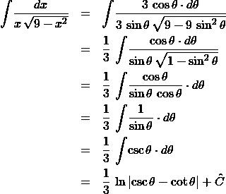 \begin{eqnarray*} \int \! \frac{dx}{x\,\sqrt{9 - x^2}}  &=& \int \! \frac{3\,\cos\theta \cdot d\theta}{3\,\sin\theta\,\sqrt{9 - 9\,\sin^2\theta}} \\ &=& \frac{1}{3}\,\int \! \frac{\cos\theta \cdot d\theta}{\sin\theta\,\sqrt{1 - \sin^2\theta}}\\ &=& \frac{1}{3}\,\int \!\frac{\cos\theta}{\sin\theta\,\cos\theta} \cdot d\theta\\ &=& \frac{1}{3}\, \int \! \frac{1}{\sin\theta} \cdot d\theta\\ &=& \frac{1}{3}\, \int \! \csc\theta \cdot d\theta\\ &=& \frac{1}{3}\,\ln\left\vert \csc\theta - \cot\theta \right\vert + \hat{C} \end{eqnarray*}