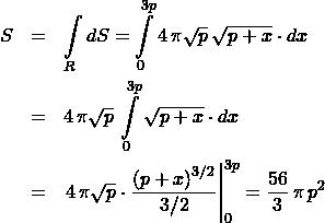 \begin{eqnarray*} S &=& \int\limits_{R} dS = \int\limits_{0}^{3p} 4\,\pi\sqrt{p}\,\sqrt{p + x} \cdot dx\\ &=& 4\,\pi\sqrt{p}\,\int\limits_{0}^{3p} \sqrt{p + x} \cdot dx\\ &=& \left.4\,\pi\sqrt{p}\cdot\frac{\left(p + x\right)^{3/2}}{3/2}\right\vert_{0}^{3p} = \frac{56}{3}\,\pi\,p^2 \end{eqnarray*}
