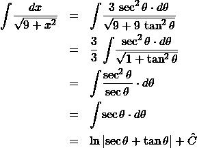 \begin{eqnarray*} \int \! \frac{dx}{\sqrt{9 + x^2}}  &=& \int \! \frac{3\,\sec^2\theta \cdot d\theta}{\sqrt{9 + 9\,\tan^2\theta}}\\ &=& \frac{3}{3}\,\int \! \frac{\sec^2\theta \cdot d\theta}{\sqrt{1 + \tan^2\theta}}\\ &=& \int \! \frac{\sec^2\theta}{\sec\theta} \cdot d\theta\\ &=& \int \! \sec\theta \cdot d\theta\\ &=& \ln\left\vert \sec\theta + \tan\theta \right\vert + \hat{C} \end{eqnarray*}