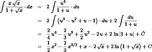 \begin{eqnarray*} \int \! \frac{x\,\sqrt{x}}{1 + \sqrt{x}} \cdot dx  &=& 2\,\int\!\frac{u^4}{1 + u}\cdot du\\ &=& 2\,\int \left( u^3 - u^2 + u - 1 \right) \cdot du + 2\,\int \! \frac{du}{1 + u} \\ &=& \frac{2}{4}\,u^4 - \frac{2}{3}\,u^3 + \frac{2}{2}\,u^2 - 2\,u + 2\,\ln|1 + u| + \hat{C}\\ &=& \frac{1}{2}\,x^2 - \frac{2}{3}\,x^{3/2} + x - 2\,\sqrt{x} + 2\ln\left(1 + \sqrt{x}\right) + C \end{eqnarray*}