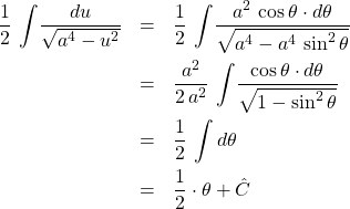 \begin{eqnarray*} \frac{1}{2} \, \int \! \frac{du}{\sqrt{a^4 - u^2}} &=& \frac{1}{2} \, \int \! \frac{a^2\,\cos\theta \cdot d\theta}{\sqrt{a^4 - a^4\,\sin^2\theta}}\\ &=& \frac{a^2}{2\,a^2} \, \int \! \frac{\cos\theta \cdot d\theta}{\sqrt{1 - \sin^2\theta}}\\ &=& \frac{1}{2}\,\int d\theta\\ &=& \frac{1}{2}\cdot \theta + \hat{C} \end{eqnarray*}
