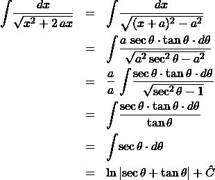 \begin{eqnarray*} \int \! \frac{dx}{\sqrt{x^2 + 2\,ax}}   &=& \int \! \frac{dx}{\sqrt{(x + a)^2 - a^2}}\\ &=& \int \! \frac{a\,\sec\theta\cdot \tan\theta \cdot d\theta}{\sqrt{a^2\sec^2\theta - a^2}}\\ &=& \frac{a}{a}\,\int \! \frac{\sec\theta\cdot \tan\theta \cdot d\theta}{\sqrt{\sec^2\theta - 1}}\\ &=& \int \! \frac{\sec\theta\cdot \tan\theta \cdot d\theta}{\tan\theta}\\ &=& \int \! \sec\theta \cdot d\theta\\ &=& \ln\left\vert \sec\theta + \tan\theta\right\vert + \hat{C} \end{eqnarray*}