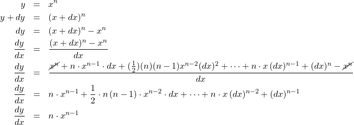 \begin{eqnarray*} y &=& x^{n}\\  y + dy &=& (x + dx)^{n}\\ dy &=& (x + dx)^{n}- x^{n}\\ \frac{dy}{dx} &=& \frac{(x + dx)^{n}- x^{n}}{dx}\\ \frac{dy}{dx} &=& \frac{\cancel{x^{n}} + n\cdot x^{n-1}\cdot dx + (\frac{1}{2})(n)(n-1)x^{n-2}(dx)^2 + \cdots+ n \cdot x\,(dx)^{n-1} + (dx)^{n} - \cancel{x^{n}}}{dx}\\ \frac{dy}{dx} &=& n\cdot x^{n-1} + \frac{1}{2}\cdot n \,(n - 1)\cdot x^{n-2}\cdot dx + \cdots + n \cdot x\,(dx)^{n-2} + (dx)^{n-1}\\  \frac{dy}{dx} &=& n\cdot x^{n-1} \end{eqnarray*}