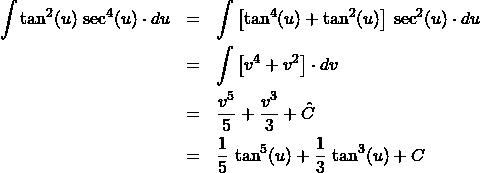 \begin{eqnarray*} \int \tan^{2} (u) \,\sec^{4}(u) \cdot du &=& \int \left[\tan^4(u) + \tan^{2}(u)\right]\,\sec^{2}(u) \cdot du\\ &=& \int \left[v^{4} + v^2\right] \cdot dv\\ &=& \frac{v^{5}}{5} + \frac{v^{3}}{3} + \hat{C}\\ &=& \frac{1}{5}\,\tan^{5}(u) + \frac{1}{3}\,\tan^{3}(u) + C \end{eqnarray*}