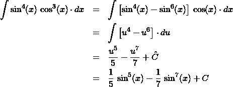 \begin{eqnarray*} \int \sin^4(x)\,\cos^3(x)\cdot dx  &=& \int \left[\sin^4(x) - \sin^6(x)\right]\,\cos(x)\cdot dx \\ &=& \int \left[u^4 - u^6\right]\cdot du\\ &=& \frac{u^{5}}{5} - \frac{u^{7}}{7} + \hat{C}\\ &=& \frac{1}{5}\,\sin^{5}(x) - \frac{1}{7}\,\sin^{7}(x) + C \end{eqnarray*}