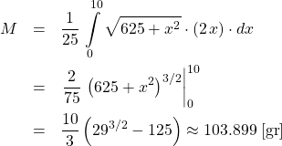 \begin{eqnarray*} M &=& \frac{1}{25} \,\int\limits_{0}^{10}  \sqrt{625 + x^2} \cdot (2\,x) \cdot dx\\ &=& \left.\frac{2}{75}\,\left(625 + x^2\right)^{3/2}\right\vert_{0}^{10}\\ &=& \frac{10}{3}\left(29^{3/2} - 125\right) \approx 103.899\;[\mathrm{gr}] \end{eqnarray*}