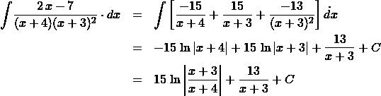 \begin{eqnarray*} \int \! \frac{2\,x - 7}{(x + 4)(x + 3)^2} \cdot dx &=& \int \left[\frac{-15}{x + 4} + \frac{15}{x + 3} + \frac{-13}{(x + 3)^{2}}\right] \dot dx\\ &=& -15\,\ln\left\vert x + 4 \right\vert + 15\,\ln\left\vert x + 3 \right\vert  + \frac{13}{x + 3} + C\\ &=& 15\,\ln\left\vert \frac{x + 3}{x + 4}\right\vert + \frac{13}{x + 3} + C \end{eqnarray*}